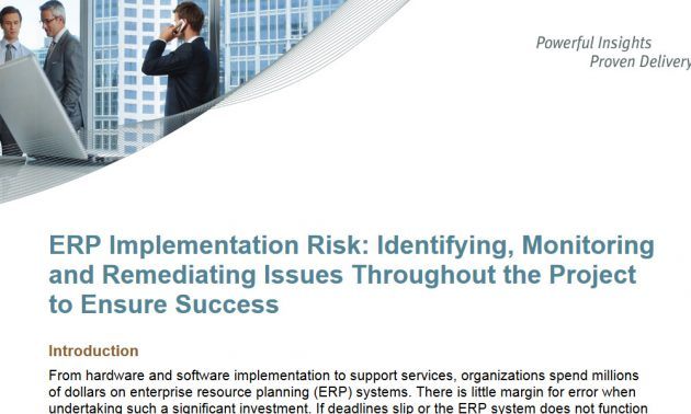 ERP Implementation Risk: Identifying, Monitoring and Remediating Issues Throughout the Project to Ensure Success 6