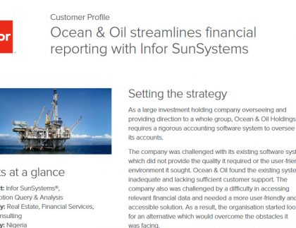 Case Study: Ocean & Oil Holdings streamlines financial reporting with Infor SunSystems 5