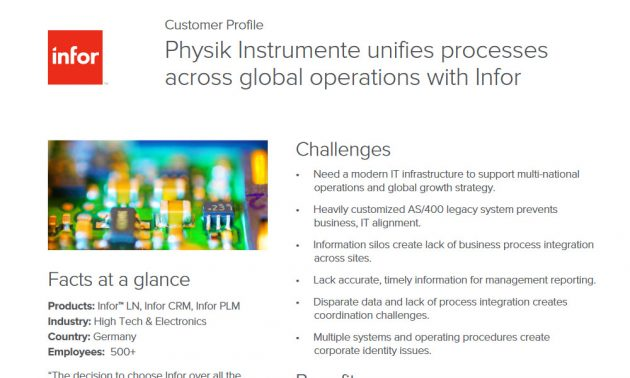 Infor CRM and ERP solution in manufacturing case study
