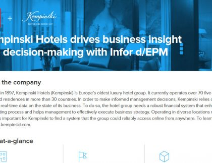 Kempinski Hotels drives financial forecast & decision-making with Infor d/EPM 2