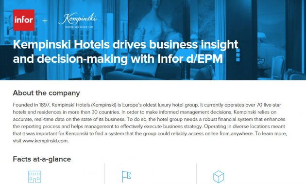 Kempinski Hotels drives financial forecast & decision-making with Infor d/EPM 4