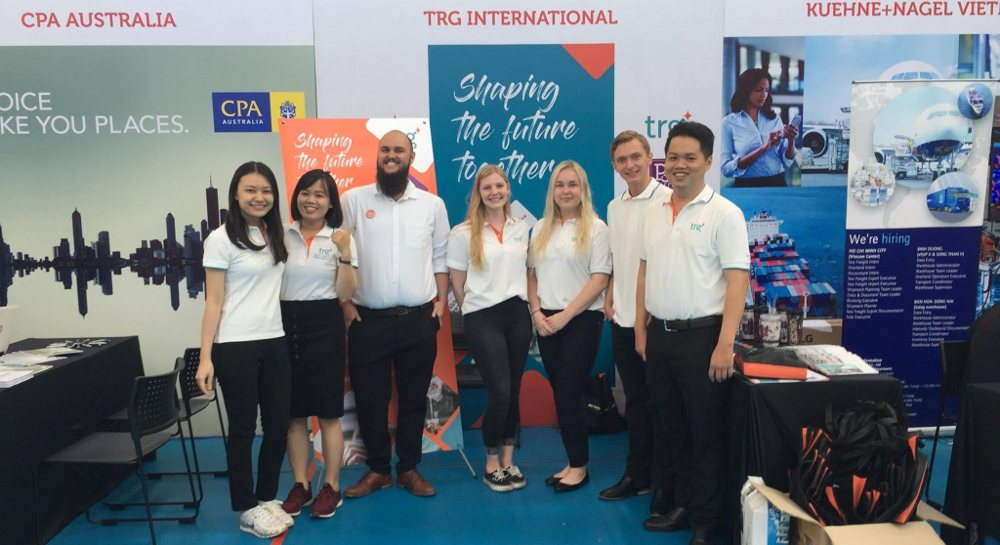 Attending staff at the TRG stand at RMIT career fair 2019
