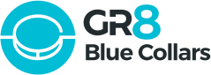 GR8 Blue Collars logo