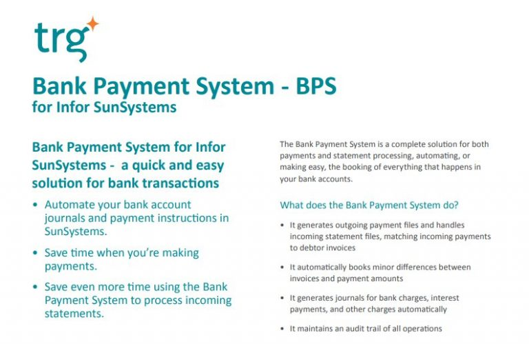 Bank Payment System for Infor SunSystems 1